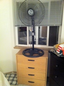 My fan on top of the dresser