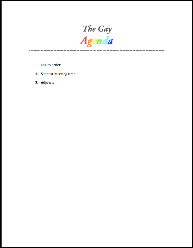 "The once confidential ""Gay Agenda"""